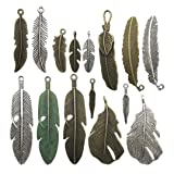 100g Feather Charms Collection - Antique Silver Bronze Patina Big Goose Bird Plume Plumage Pinion Wing Feather Metal Pendants for Jewelry Making DIY Findings (HM17) (Color: Feather)