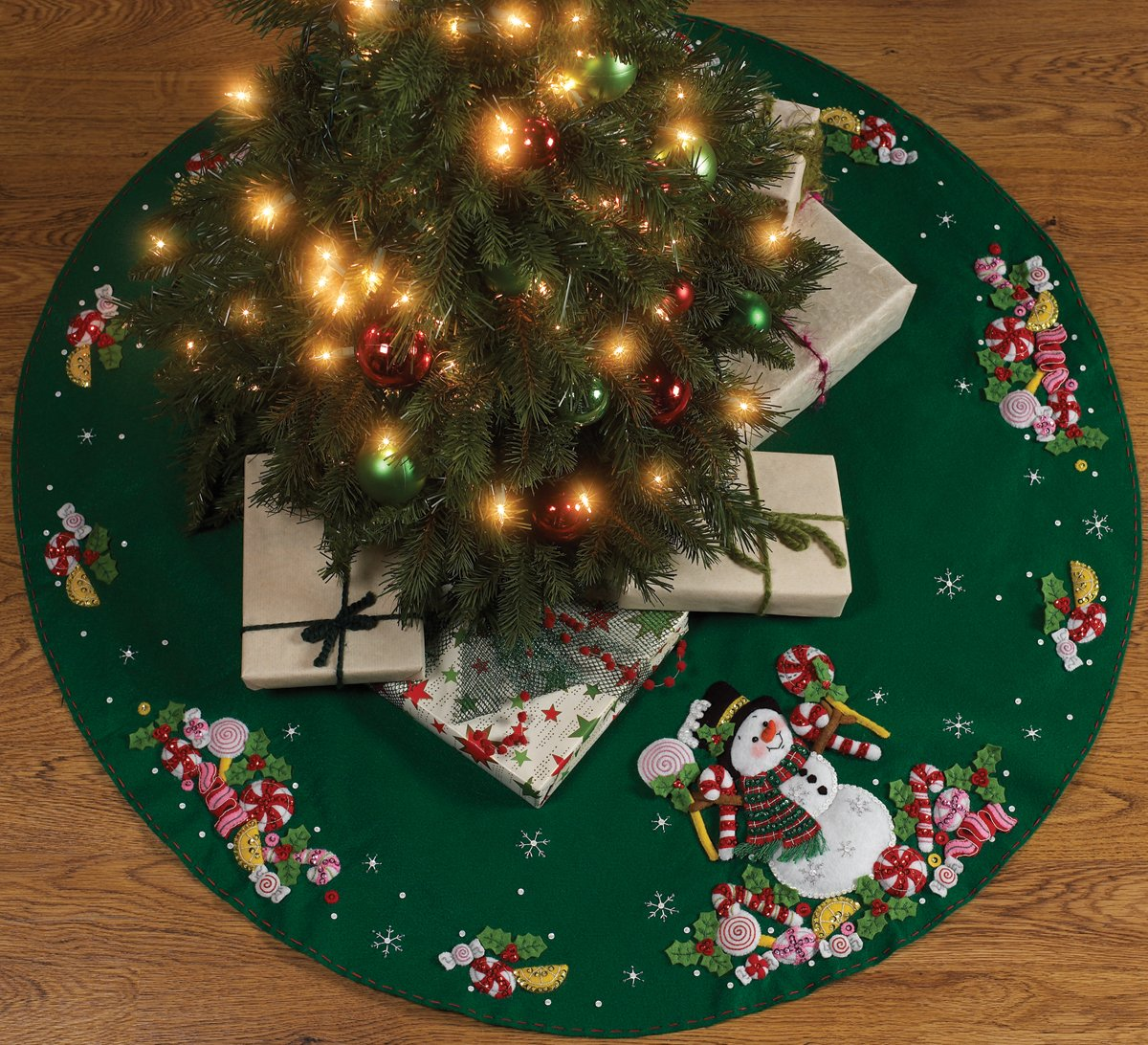 Bucilla Candy Snowman Tree Skirt Felt Applique Kit 43 Round Detailed Designs And Generous Embellishments Easy To Follow Instructions Everything You Will