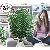 SLanC 12 Pack Artificial Palm Plants Leaves Faux Fake Tropical large Palm Tree Leaves Imitation Leaf Artificial Plants for Home Kitchen Party Flowers Arrangement Wedding Decorations (Color: Green Artificial Palm Leaves)
