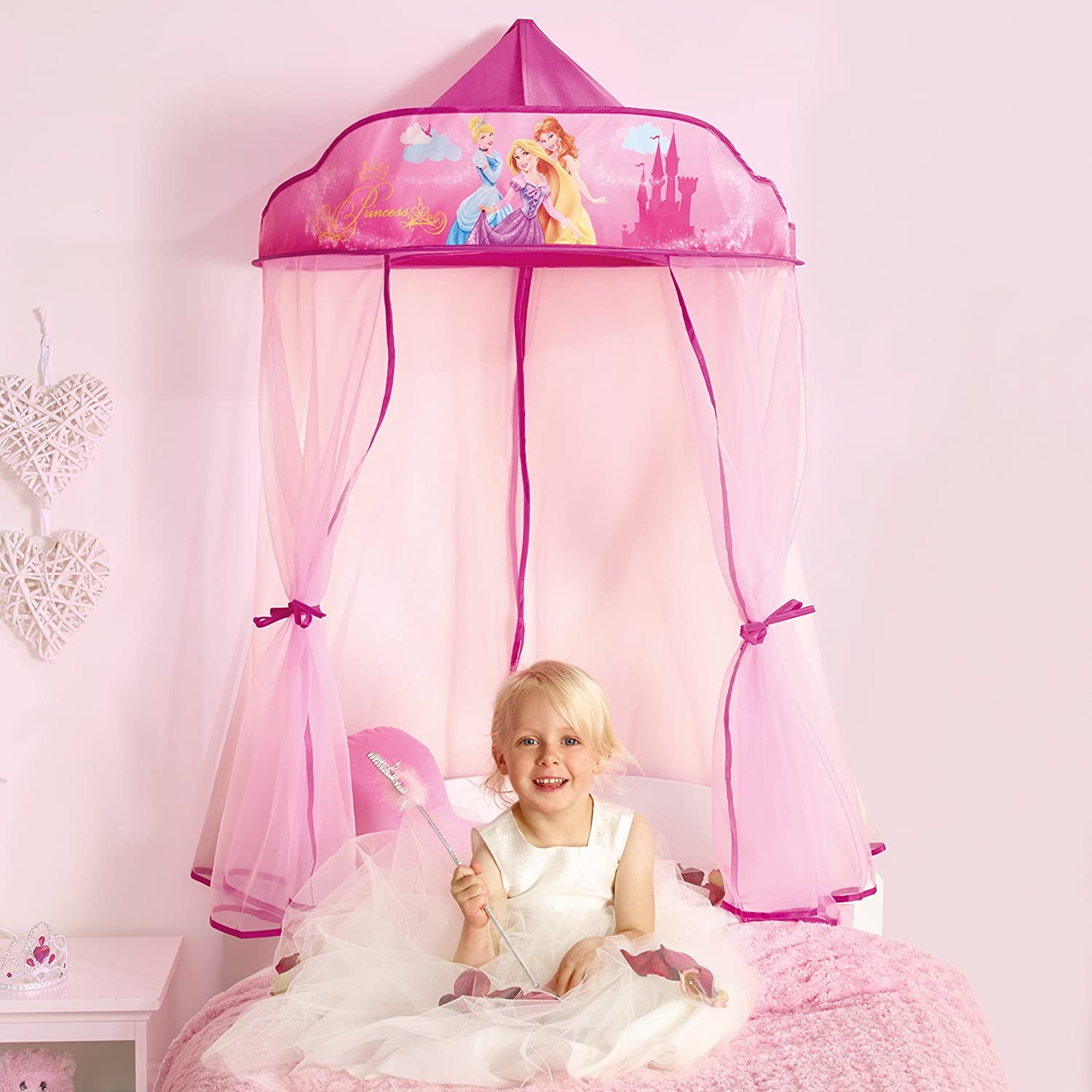 disney princess cinderella canopy for bed girl toddler play tent pink purple new ebay. Black Bedroom Furniture Sets. Home Design Ideas