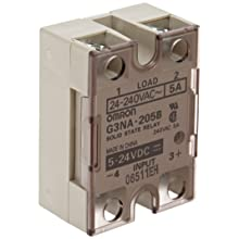 Omron G3NA-205B-DC5-24 Solid State Relay, Zero Cross Function, Yellow Indicator, Photocoupler Isolation, 5 A Rated Load Current, 24 to 240 VAC Rated Load Voltage, 5 to 24 VDC Input Voltage