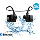 Bluetooth 8GB Waterproof MP3 Player Earphones Earbuds Headset i360 Black Edition Listen to your Music Whilst Swimming/Running/Training/Gym Fuss Free Without a Cord! Underwater Sport MP3 Music Player (Color: Black, Tamaño: 8GB Bluetooth)