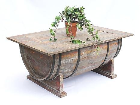 DanDiBo Botte di vino Tavolino da tè per salotto 5084 Tavolo di legno Portabottiglie vino 80 cm