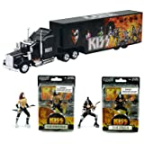 KISS Rock Truck Hauler Kenworth W900 w/Van Tour Trailer & Band Action Figures & Ready to Roll The Demon & The Starchild 4.5