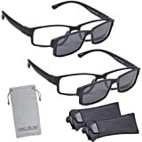Marc De Rez Computer Reading Glasses With Clip On Sunglasses - 2 Pack - Anti Blue Light Prescription Readers, Magnetic Sun Shades and Pouch - UVC, UVB and UVA Protection - Black, 2.50 (Color: Black, Tamaño: one size fits all)