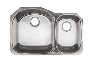 Kindred KSDCRU/9 Undermount Double Bowl Stainless Steel Kitchen Sink, Silk