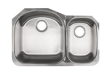 Kindred KSDCRU/9 Undermount Double Bowl Stainless Steel Kitchen Sink, Silk