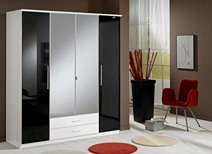 Berlin 4 Door German Wardrobe Black Gloss and Alpine White- UK ONLY