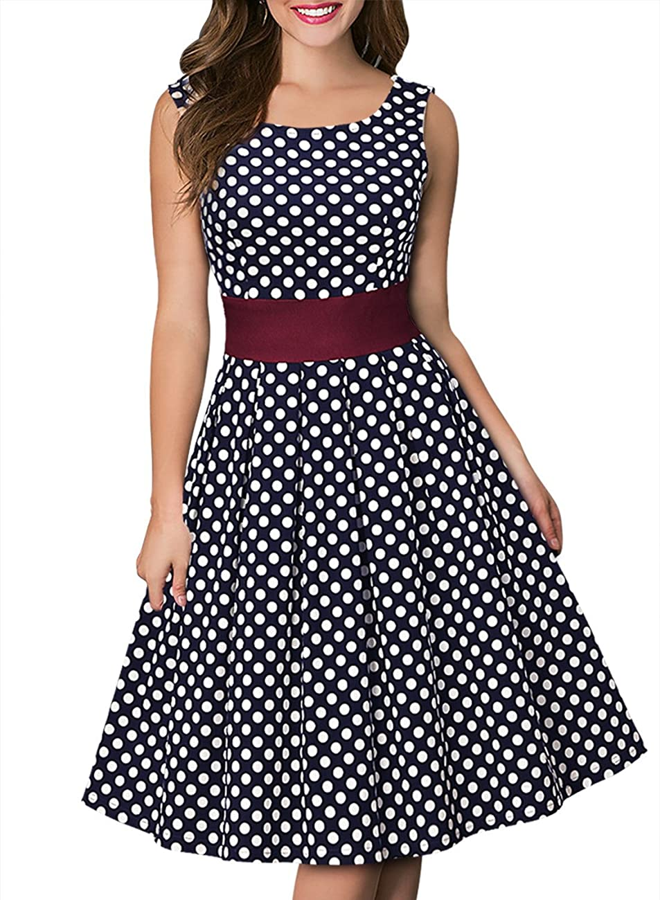 Miusol Women's Vintage Cut Out Polka Dot 1950'S Bridesmaid Swing Dress 0
