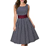 Miusol Women's Vintage Cut Out Polka Dot 1950'S Bridesmaid Swing Dress