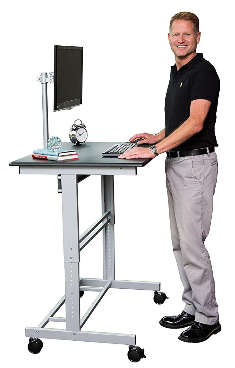 "40"" Mobile Adjustable Height Stand Up Desk with Monitor Mount (Black Shelves / Silver Frame)"