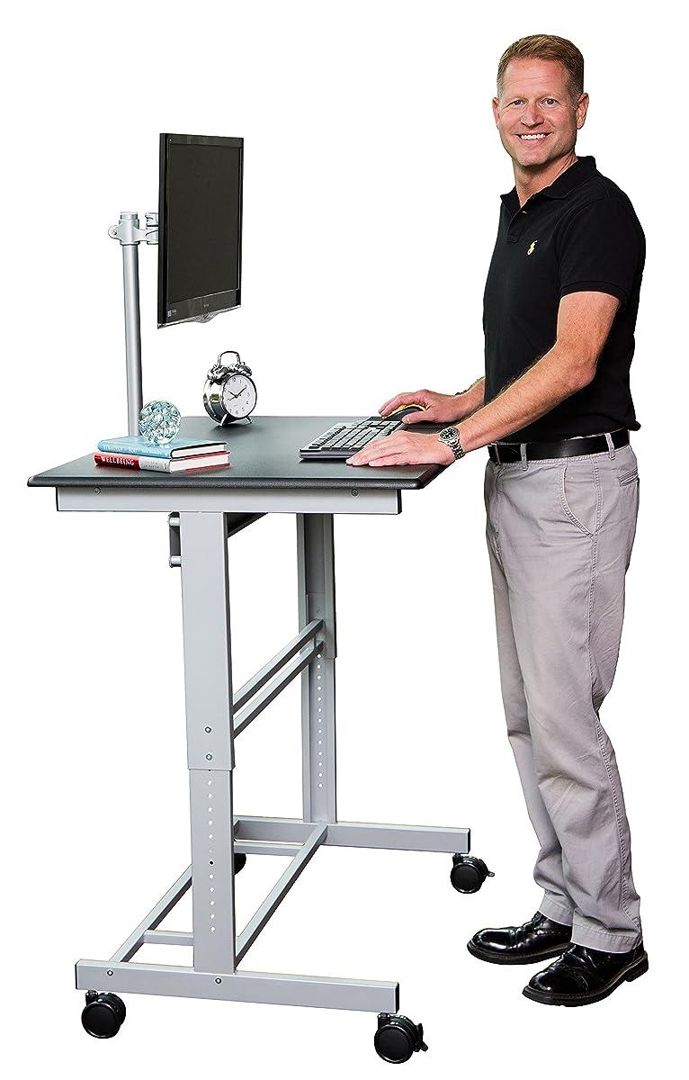 40 mobile adjustable height stand up desk with monitor mount black shelves silver frame. Black Bedroom Furniture Sets. Home Design Ideas