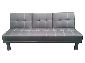 Generic High Quality Comfortable Foam-black Pu Sofabed-made of Faux Leather-with S-springs-with Luxurious Design