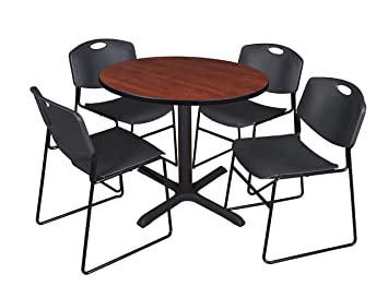 Regency Seating 36-Inch Round Cherry Laminate Table with Cain Base and 4 Black Zeng Stack Chairs