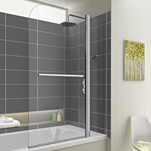 1000mm Bath Shower Glass Bathroom Screen with Towel Rail  iBath       Customer review