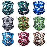 SoJourner 9PCS Seamless Bandanas Face Mask Headband Scarf Headwrap Neckwarmer & More – 12-in-1 Multifunctional for Music Festivals, Raves, Riding, Outdoors (Camo 1) (Color: 9PCS Camoflauge Series 1, Tamaño: One_Size)