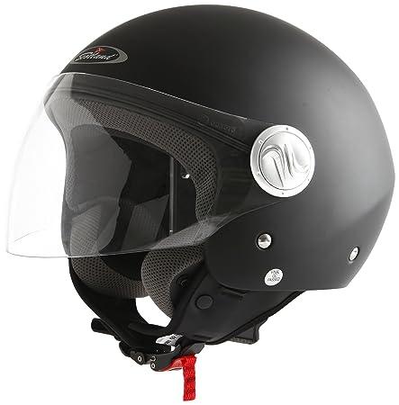 Scotland 100041-nr-m Casque Moto / Scooter avec une Longue Visière, Noir