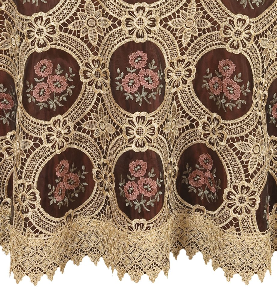 Vintage Elegant Beige Round Lace Tablecloth Linen Embroidered Flower Burgundy Translucent Gauze Customer Order (round 70 by 70 inch) 2