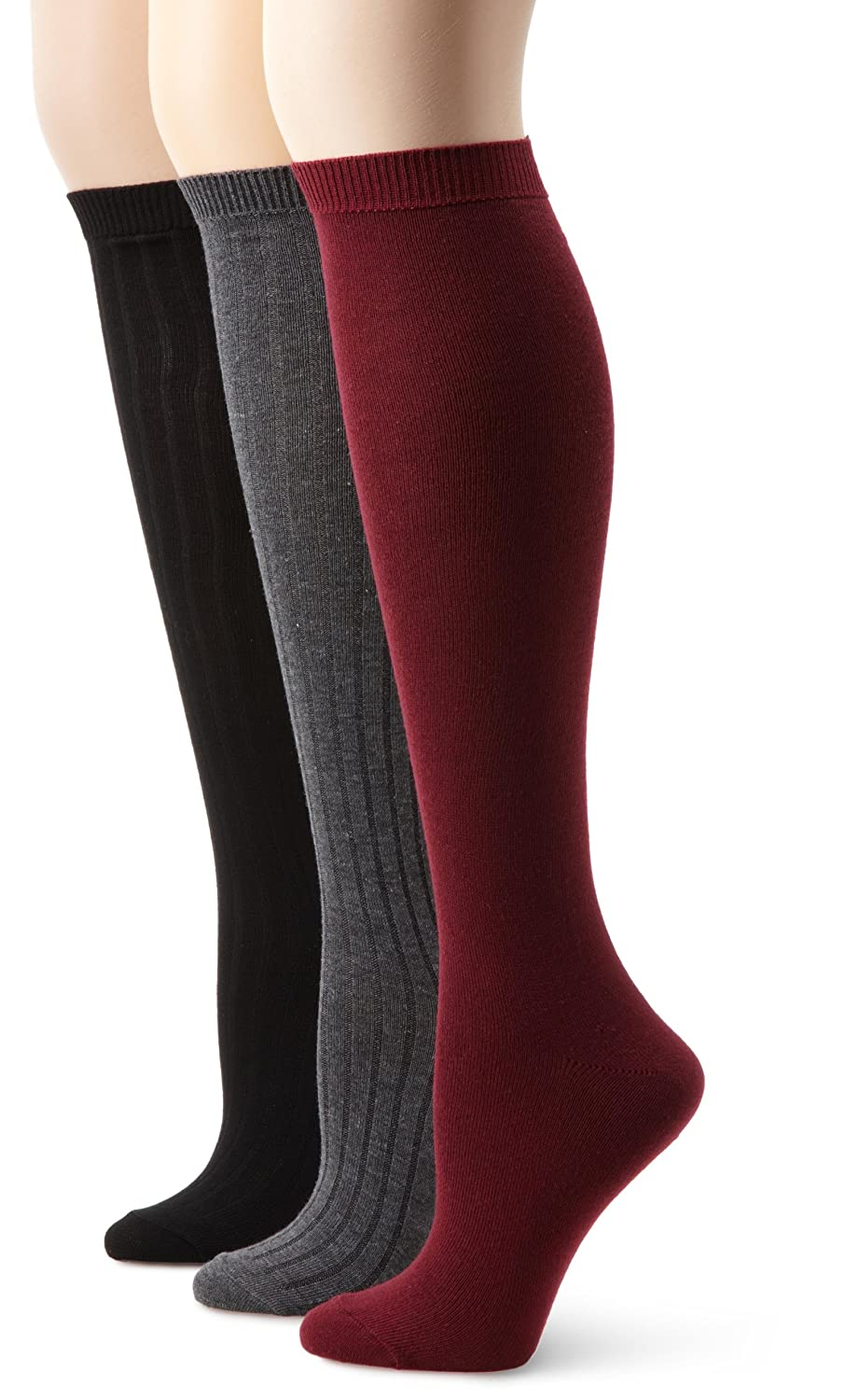 Nine West Women's Textured Rib And Solid Flat Knit Knee High 3 Pair Sock, Bordeaux, Size 9-11