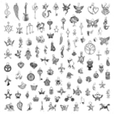 Charms for Jewelry Making 200 Pieces Wholesale Bulk Lots, Mixed Smooth Tibetan Silver Charms Pendants for DIY Necklace Bracelet Jewelry Making Crafting