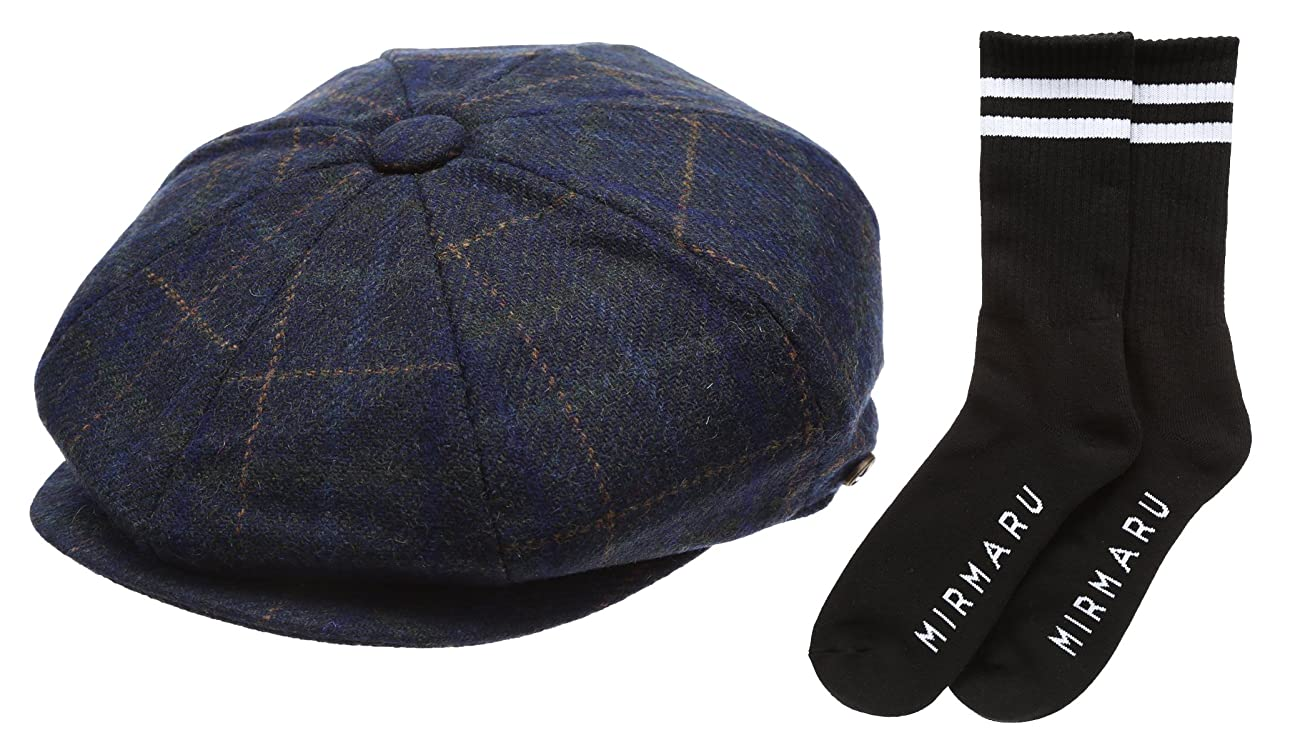 Men's Premium 100% Wool 8Panels Plaid Herringbone Newsboy Hat With MIRMARU Socks. 0
