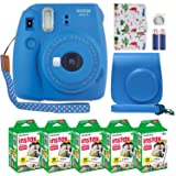 Fujifilm Instax Mini 9 Instant Camera Cobalt Blue with Custom Case + Fuji Instax Film Value Pack (50 Sheets) Flamingo Designer Photo Album for Fuji instax Mini 9 Photos (Color: Cobalt Blue)