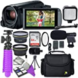 Canon VIXIA HF R82 Camcorder with Sandisk 64 GB SD Memory Card + 2.2x Telephoto Lens + 0.42x Wideangle Lens + Video Accessory Bundle