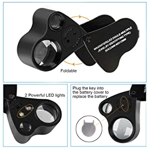 JARLINK 30X 60X Illuminated Jewelers Eye Loupe Magnifier, Foldable Jewelry Magnifier with Bright LED Light for Gems, Jewelry, Coins, Stamps, etc (Color: Black)