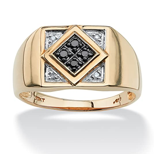 Palm Beach Jewelry - Men's .10 TCW Round Black and White Diamond 10k Yellow Gold Classic Ring