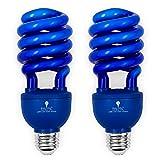 2 Pack BlueX CFL Blue Light Bulb 24W - 100-Watt Equivalent - E26 Spiral Replacement Bulbs - Blue Bulbs Decorative Illumination - for Indoor or Outdoor - DJ, Colored Bulbs CFL, Party, Halloween Bulbs (Color: Blue)