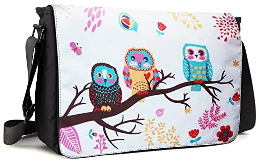 Meffort Inc 17 17.3 Inch Laptop / Notebook Padded Compartment Shoulder Messenger Bag with Shoulder Pad - Three Owls
