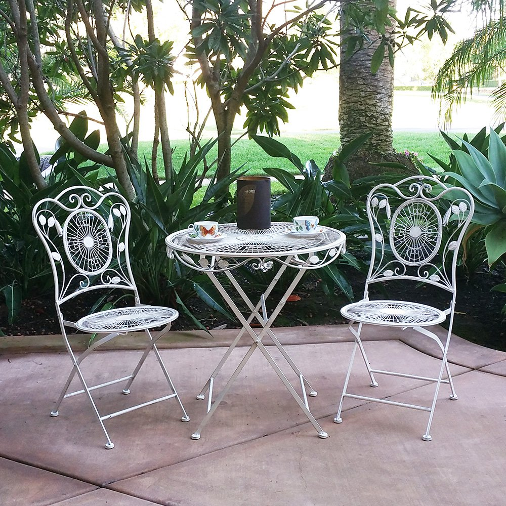 Modern Home Bordeaux Antiqued Iron 3pc Folding Bistro Set 0