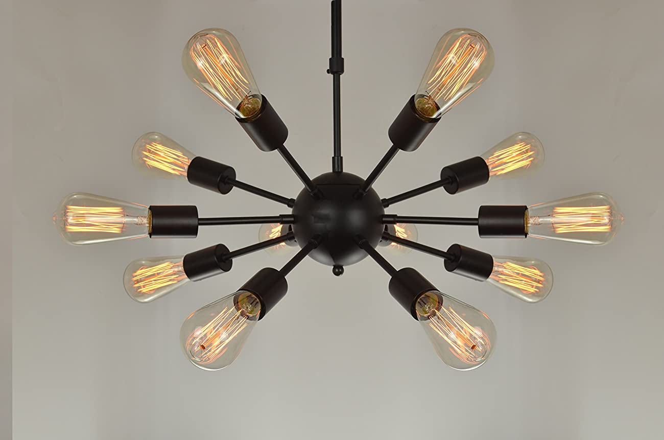 Electro_BP;Vintage Metal Large Chandelier With 12 Lights Black Finish 0