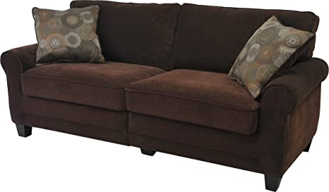 Serta CR-43537PB Trinidad Collection 73inch Sofa, Chocolate Fabric