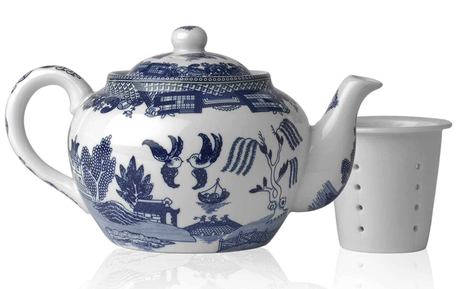 HIC Blue Willow 16-Ounce Teapot with Infuser