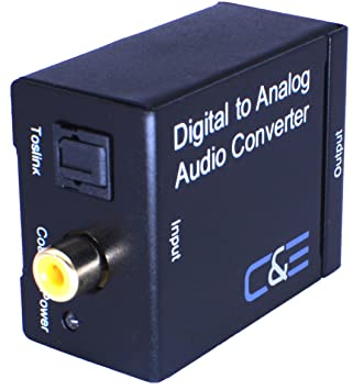 C/&E Digital Optical Coax to Analog R//L audio converter Black