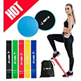 Thirty48 Gliding Discs Core Sliders and 5 Exercise Resistance Bands | Strength, Stability, and Crossfit Training for Home, Gym, Travel | User Guide &