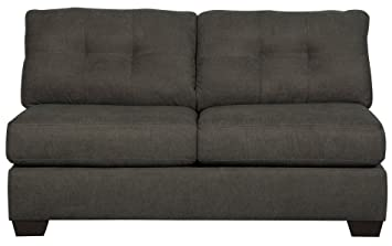 Ashley Furniture Delta City Microfiber Armless Loveseat in Steel