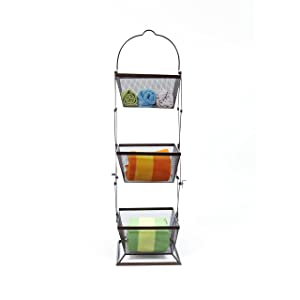 Origami 3-Tier Produce Basket Vegetable Bin Snack Organizer | Fruit Rack, Onion Basket, Three Tiers, Kitchen Counter Storage, for Farmhouse Veggies Fruits or Storage Organizer, Metal Wire | White (Color: White)