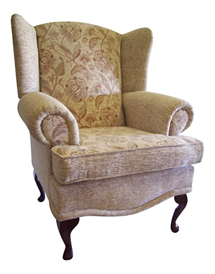 Cottage/Wing Back/ Queen Anne Chair Somerset Floral/Plain Calico Chenille Fabric QA Legs