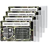 Emergency Mylar Thermal Blankets (4-Pack) + BONUS Signature Gold Foil Space Blanket: Designed for NASA – Perfect for Outdoors, Hiking, Survival, Marathons or First Aid (Woodland Camouflage)