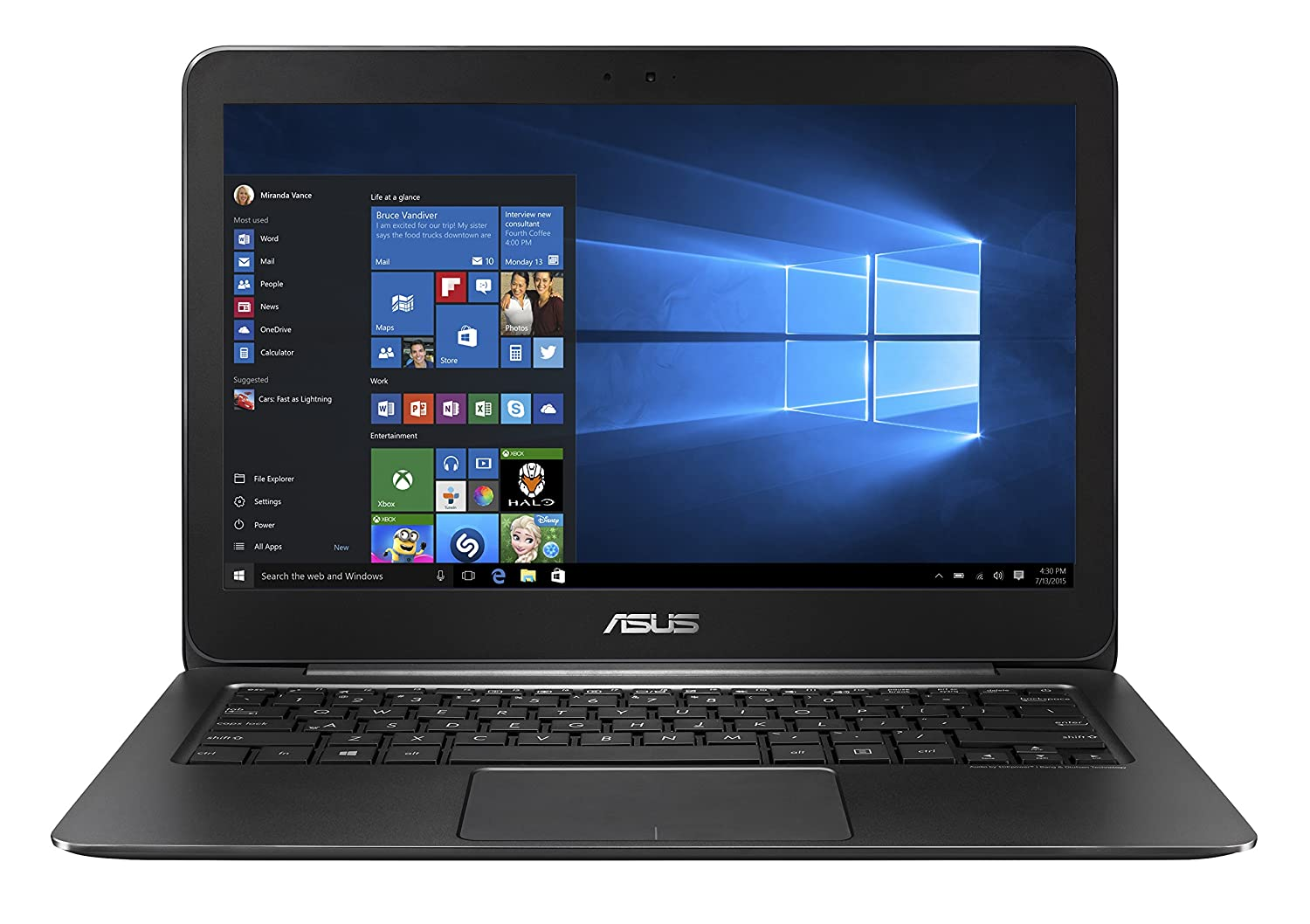 ASUS ZenBook UX305CA 13.3-Inch FHD Laptop, 6th Gen Intel Core M, 8 GB RAM, 256 GB SSD, Windows 10