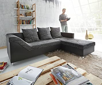 couch falun schwarz 240x150 cm steppoptik ottomane rechts ecksofa db528. Black Bedroom Furniture Sets. Home Design Ideas