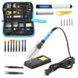 Qimh Soldering Iron Kit,60W 110V Adjustable Temperature 23-In-1 Welding Soldering Iron with ON/OFF Switch,5 Different Tip,Soldering Sucker,Desoldering Pump,2Anti-Static Tweezers,Wire cutter,wire,stand (Color: Soldering Iron Kit, Tamaño: 23pcs)