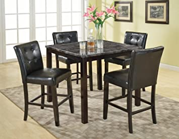 Roundhill Furniture 5-Piece Praia Artificial Dark Marble Top Pub Dining Table 4 Chairs Set