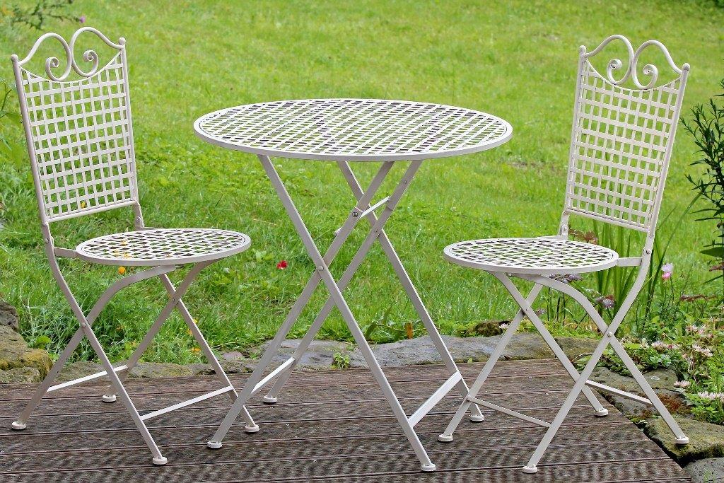 """Tisch Set """"Lina"""" aus Metall ein Tisch + zwei Stühle, Farbe creme, Gartenmöbel günstig"""