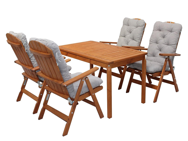 Ambientehome 90543 Gartengarnitur Gartenset Sitzgruppe verstellbare Klappstühle Stranda braun inkl. graue Kissen und Tisch Evje 120x70 cm 9-teiliges Set