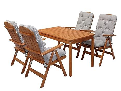 Ambientehome 90543 Gartengarnitur Gartenset Sitzgruppe verstellbare Klappstuhle Stranda braun inkl. graue Kissen und Tisch Evje 120x70 cm 9-teiliges Set