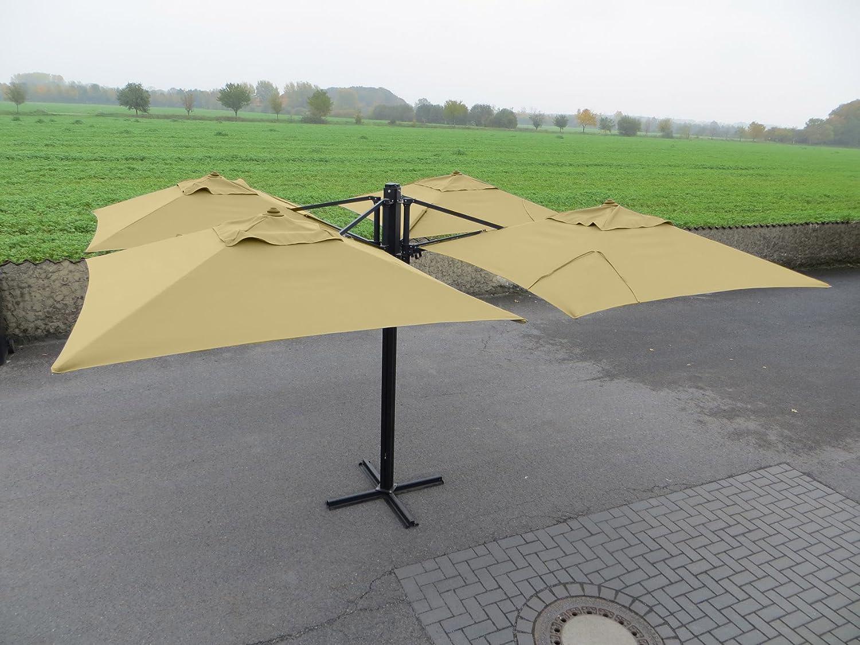 """Madison Gastronomie Gartenschirm """"Murano IV"""" mit vier separat verstellbaren Schirmen in natur – ecru, UV-Schutz 40 Plus günstig"""