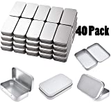 Tamicy Metal Rectangular Empty Hinged Tins - Pack of 40 Silver Mini Portable Box Containers Small Storage Kit & Home Organizer Small tins with lids Craft containers 3-1/2''X2-1/2''X4/5'' (Color: Silver)